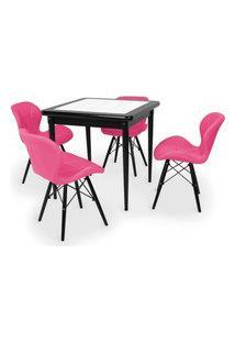 Conjunto Mesa De Jantar Em Madeira Preto Prime Com Azulejo + 4 Cadeiras Slim - Rosa