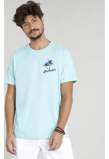 "Camiseta Masculina ""Paradise"" Manga Curta Gola Careca Verde Água"
