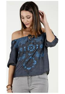 Blusa Feminina Cropped Ombro A Ombro Estampa Floral Five Jeans