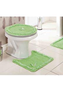 Jogo De Banheiro Delicato Verde Com 3 Peças - Enxovais Ibitinga