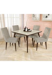 Conjunto De Mesa E 4 Cadeiras D001 - Kappesberg - Walnut / Bege