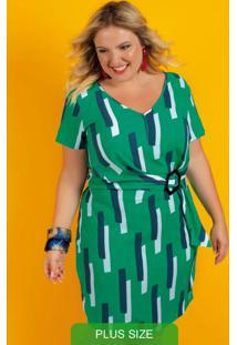 Vestido Estampado Com Decote V Verde