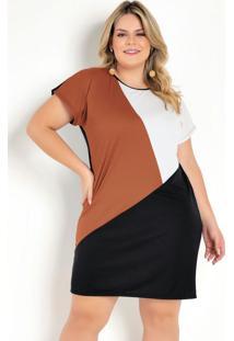 Vestido Tricolor Com Recortes Plus Size