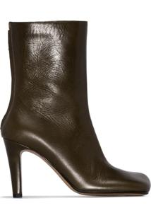 Bottega Veneta Ankle Boot Com Bico Quadrado - Verde