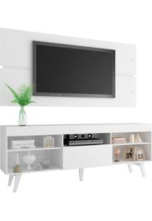 Rack Com Painel Para Tv Até 65 Polegadas Madesa Miami Com Pés - Branco