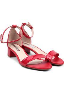 Sandália Moleca Salto Grosso Baixo Verniz Feminina - Feminino-Vermelho