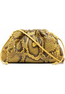 Bottega Veneta Bolsa Transversal Com Efeito De Pele De Cobra - Marrom