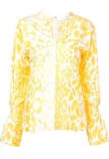 Victoria Beckham Blusa Com Animal Print - Amarelo