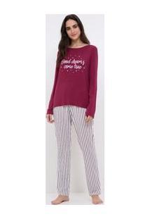Pijama Manga Longa Estampado E Calça Listrada