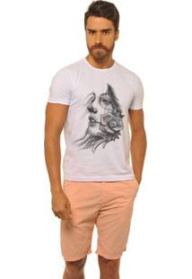 Camiseta Joss Premium Mexicana Flor Masculina - Masculino-Branco