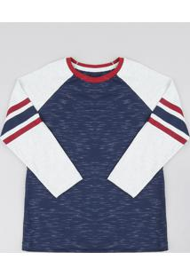 Camiseta Infantil Raglan Manga Longa Gola Careca Azul Marinho