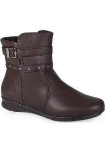 Ankle Boots Feminina Mooncity Mini Tiras Marrom