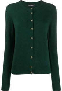 Dolce & Gabbana Cardigan Com Logo E Botões - Verde