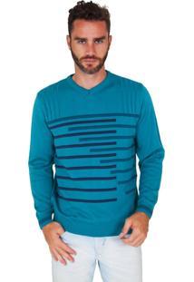Suéter G'Dom Azul Frente Listrado