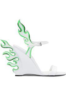 Prada Sandália Flame De Couro - Branco