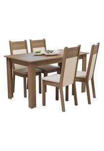 Conjunto Sala De Jantar Madesa Cali Mesa Tampo De Madeira Com 4 Cadeiras Rustic/Crema/Bege Rustic
