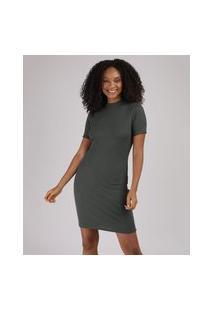 Vestido Feminino Básico Curto Canelado Manga Curta Gola Alta Verde Militar