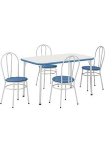 Conjunto De Mesa Com 4 Cadeiras Marcia Branco