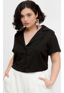 Camisa Cropped Plus Size Com Gola Blazer Preto