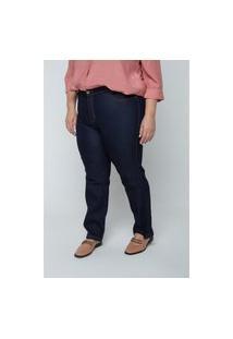 Calça Reta Jeans Amaciada Plus Size Jeans Blue Calça Reta Jeans Amaciada Plus Size Jeans Blue 62 Kaue Plus Size
