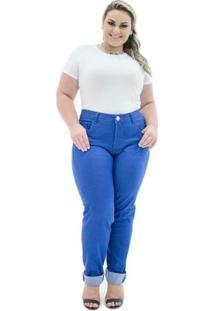 Calça Confidencial Extra Jeans Cigarrete Missy Com Lycra Plus Size Feminina - Feminino-Azul