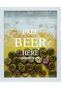 Quadro Porta Tampinhas De Cervejas Free Beer Branco
