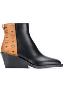 Mcm Ankle Boot Com Contrastante - Preto