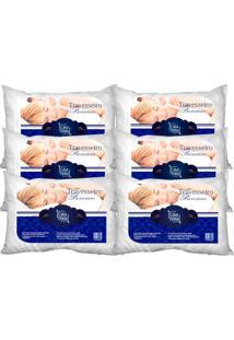 Kit 6 Travesseiros Percal Premium 50X70Cm Casa Dona 200 Fios Siliconada Branco