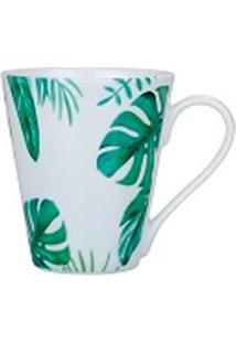 Caneca Naomi Porcelana Flor Verde Claro 330Ml - 29915