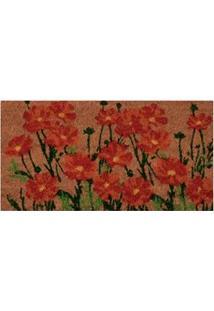 Capacho Retangular Vizapi Un Natural Flores Do Campo Com Fibra Natural 33 X 60 Cm - Colorido