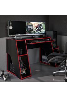 Mesa Gamer Kyoto Ideal Para 2 Monitores Preto/Vermelho - Politorno