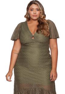 Vestido Almaria Plus Size Maxi Plus Renda Verde Militar - Verde/Verde Militar - Feminino - Renda - Dafiti