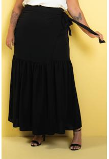 Saia Longa Transpassada Babado Black Plus Size