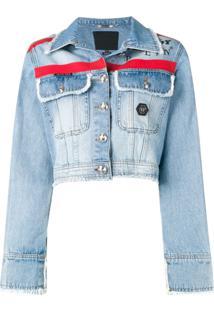 29048d87e1 Philipp Plein Jaqueta Jeans Com Listras  X Playboy  - Azul