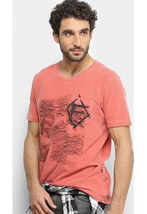 Camiseta Forum Cartas Bolso Masculina - Masculino-Vermelho