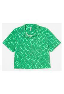 Camisa Curta Em Viscose Estampa Poá | Blue Steel | Verde | G