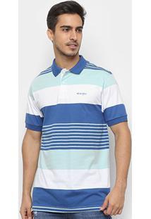 Camisa Polo Wrangler Manga Curta Listrada Masculina - Masculino-Azul+Branco