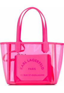 Karl Lagerfeld Bolsa Tote K/Journey Transparente Pequena - Rosa