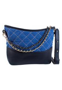 Bolsa Feminina Transversal Fashion Luxo Jens Alça Corrente Azul Escuro