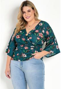Blusa Floral Verde Com Transpasse Plus Size