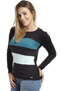 Camiseta Vlcs Manga Longa Feminina - Feminino-Azul
