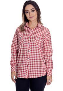 Camisa Pimenta Rosada Kiara Xadrez Vermelha