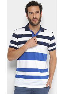 Camisa Polo Aleatory Listrada Iii Masculina - Masculino-Marinho+Branco
