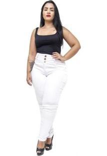 Calça Jeans Credencial Plus Size Skinny Tycillia Feminina - Feminino-Branco