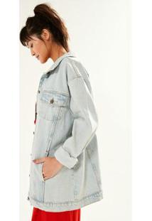 04631e3f4 ... Jaqueta Jeans Oversized Bordado Floral