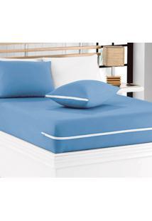 Capa De Colchão Mascali Casal Azul Com 1 Peças Em Algodão - Sina Enxovais