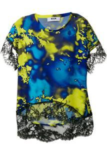 Msgm Blusa Com Padronagem De Renda - Azul