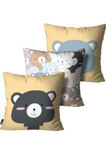 Kit Com 3 Capas Para Almofadas Mdecore Infantil Urso Colorido 55X55Cm