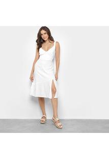 Vestido Mercatto Babado Fenda - Feminino-Branco