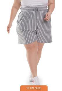 Shorts Feminino Plus Size Listrado Mescla